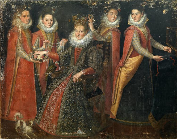 Portrait of Five Women with a Dog and a Parrot - Lavinia Fontana