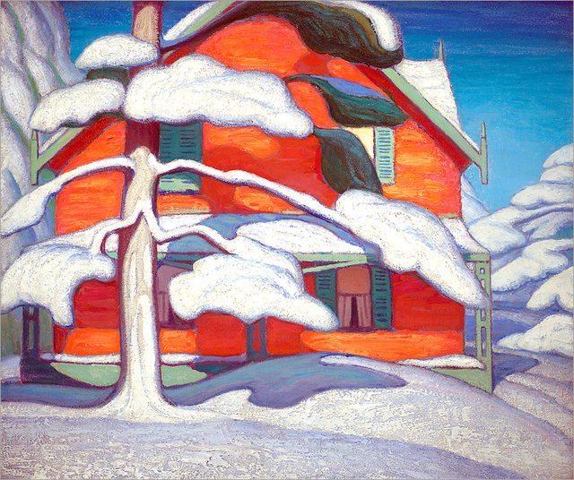 Pine Tree and Red House, Winter City, 1924 - Lawren Harris