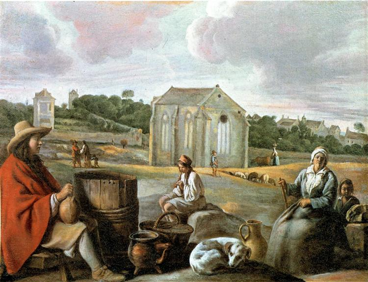 Landscape with Peasants and a Chapel - Le Nain brothers