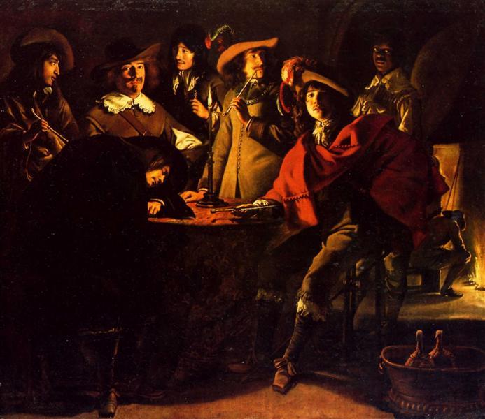 Smokers in an interior, 1643 - Le Nain (Irmãos Le Nain)