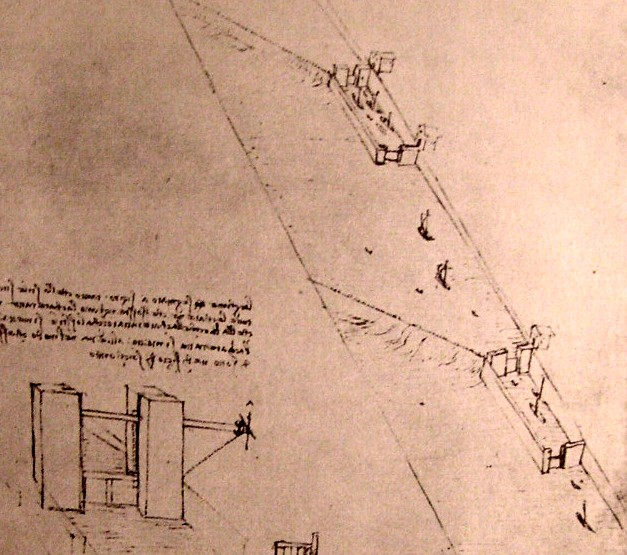 Drawing of locks on a river, 1500