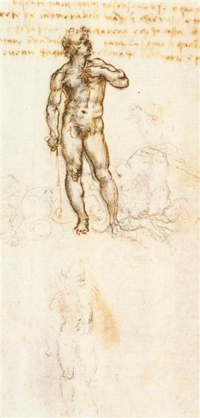 Study of David by Michelangelo, 1505 - Leonardo da Vinci