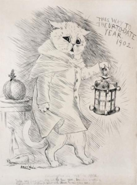 CATASTROPHIES ARE 'OFF' IN 1902 TAKE CARE HOW YOU STEP INTO THE NEW YEAR. DECEMBER IS RATHER A TRYING MONTH TO GET THROUGH, WHAT WITH CHRISTMAS, AND NEW YEAR'S EVE, 1902 - Louis Wain