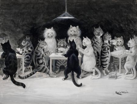 CATS' BRIDGE CLUB - Louis Wain