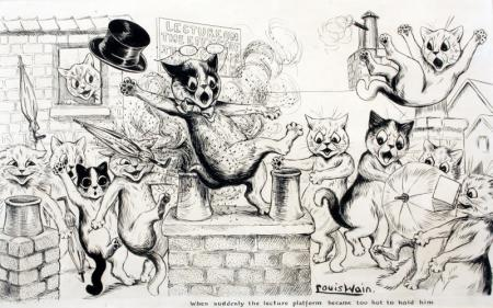 WHEN SUDDENLY THE LECTURE PLATFORM BECAME TOO HOT TO HOLD HIM - Louis Wain
