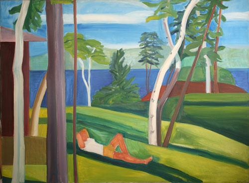 Maine Landscape with Figure, 1976 - Louisa Matthiasdottir
