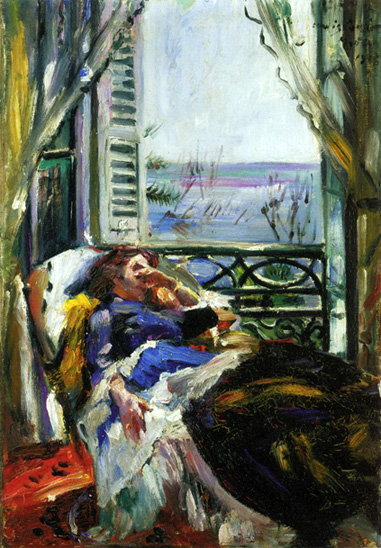 Woman in a Deck Chair by the Window - Ловис Коринт