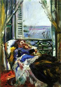 Woman in a Deck Chair by the Window - Lovis Corinth