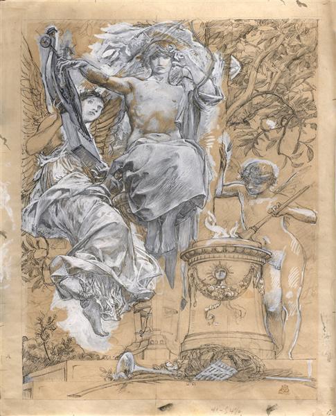 Illustration project for the ' Trophées' of José Maria de Heredia, 1895 - Люк-Олів'є Мерсон