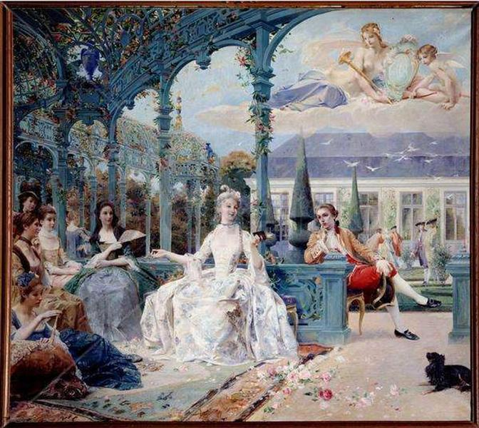 Miss Clermont and Count Melun at pavilion near Sylvie, 1895 - Люк-Олів'є Мерсон
