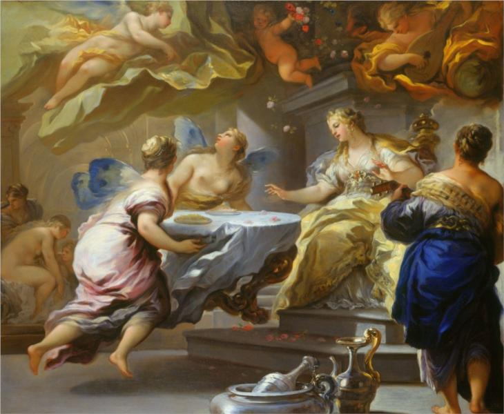 """Лука Джордано """"Психея обслуживается невидимыми духами"""" 1697"""