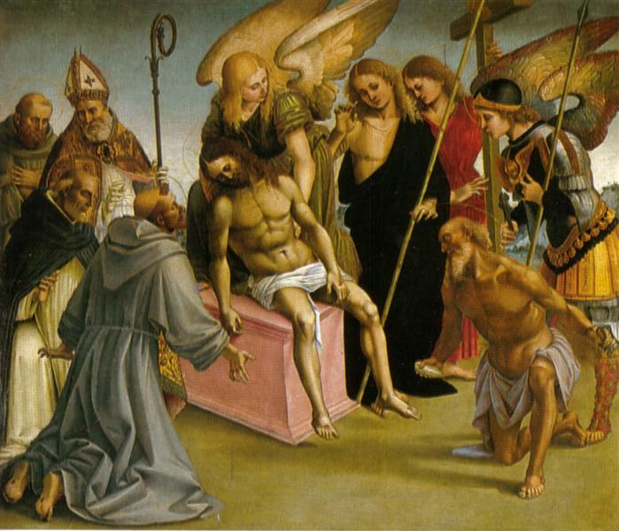 Lamentation over the Dead Christ with Angels and Saints - Luca Signorelli
