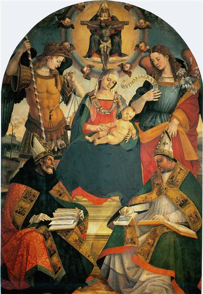 The Trinity, the Virgin and Two Saints - Luca Signorelli