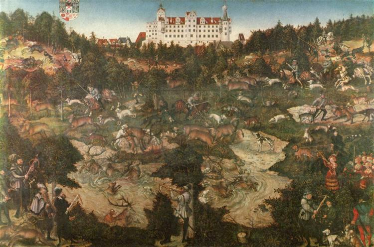 Hunt in Honour of Charles V at the Castle of Torgau, 1544 - Лукас Кранах Старший