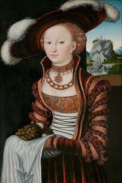 Portrait of a Young Woman Holding Grapes and Apples, 1528 - Lucas Cranach der Ältere