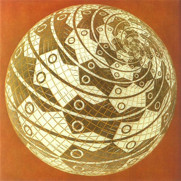 Сферична поверхня із рибами у кольорі, 1958 - Мауріц Корнеліс Ешер