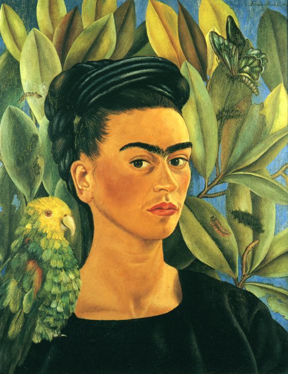 Self-Portrait with Bonito, 1941 - Frida Kahlo - WikiArt.org