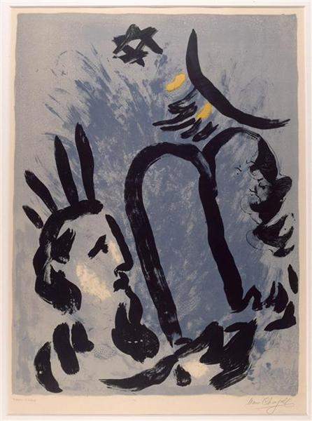 """Moses (Poster for the exhibition """"Stained Glass for the cathedral of Metz""""), 1960 - Marc Chagall"""