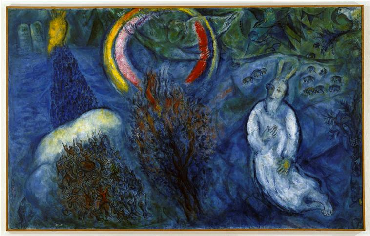 Moses with the Burning Bush, 1966 - Marc Chagall - WikiArt.org
