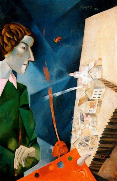 Self portrait with palette, 1917 - Marc Chagall