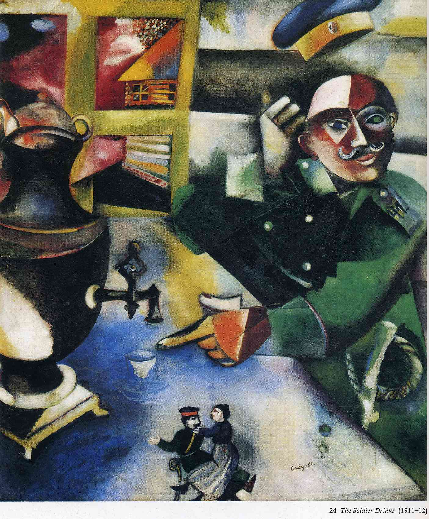 The Soldier Drinks, 1912 - Marc Chagall - WikiArt.org Chagall Afbeeldingen