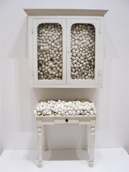White Cabinet and White Table, 1965 - Marcel Broodthaers