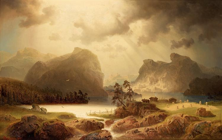 Fjord landscape in Norway, 1860 - Marcus Larson
