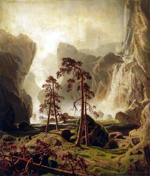 Mountains and a Waterfall, 1851 - Marcus Larson