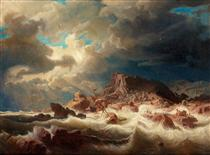 Stormy sea with ship wreck - Marcus Larson