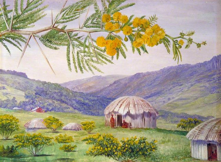 The South African Doornboom and Fingo Huts, 1882 - Marianne North