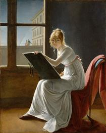 Young Woman Drawing - Marie-Denise Villers