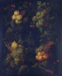 Fruit Garland Encircling a Relief - Маріо Де Фьйорі