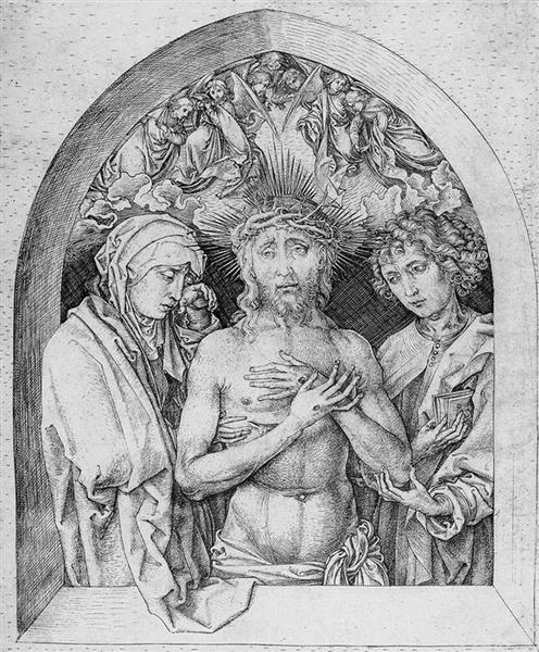 The Man of Sorrows with the Virgin Mary and St. John the Evangelist, 1470 - 1475 - Martin Schongauer