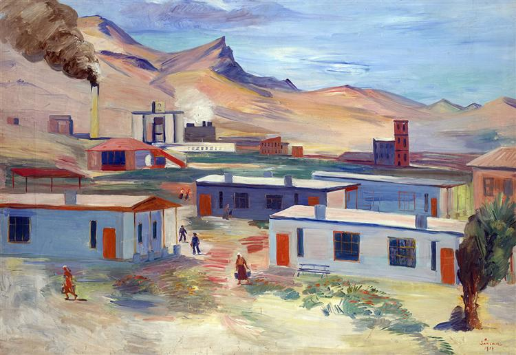 Worker's Settlement and Concrete Plant, Davalu, Ararat Region, 1937 - Martiros Sarian