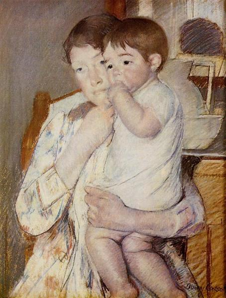 Baby in His Mother`s arms, sucking his finger, 1889 - Mary Cassatt