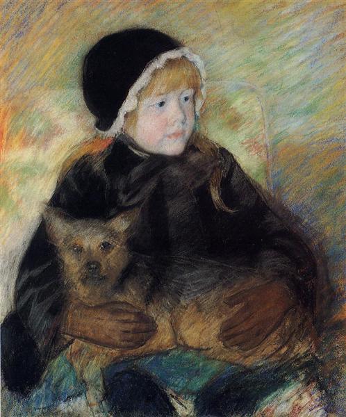 Elsie Cassatt Holding a Big Dog, c.1880 - Мері Кассат
