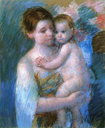 Mother Holding Her Baby - Mary Cassatt