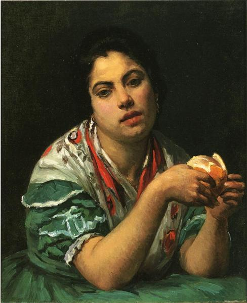 Peasant Woman Peeling an Orange, c.1875 - Mary Cassatt