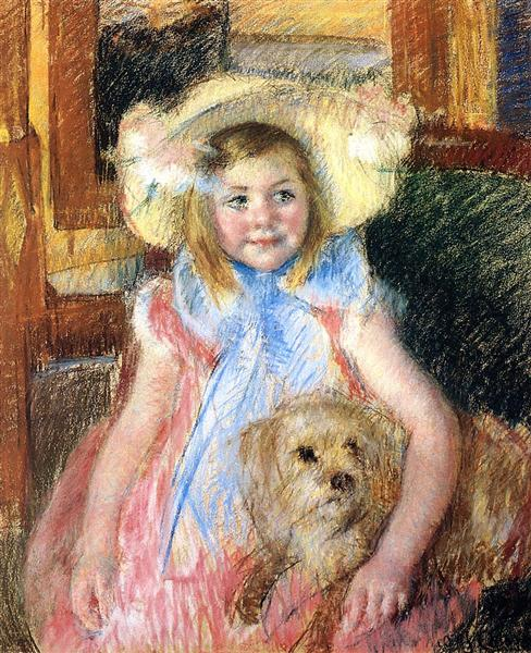 Sara in a Large Flowered Hat Looking Right Holding Her Dog, c.1902 - Mary Cassatt