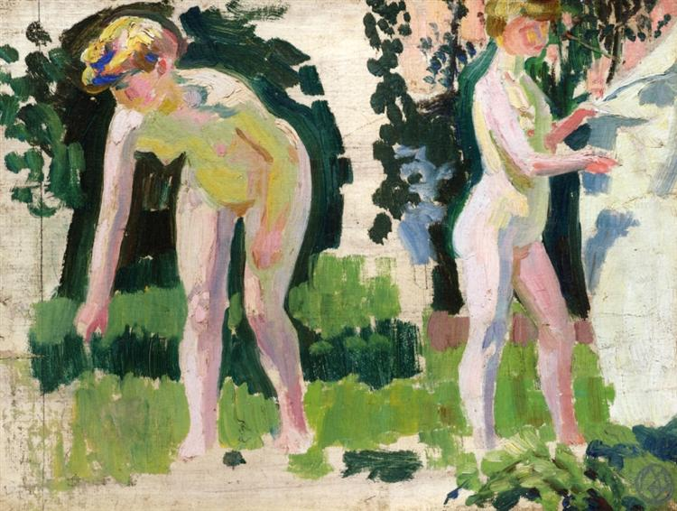 Two Studies of a Nude Outdoors, c.1907 - Maurice Denis