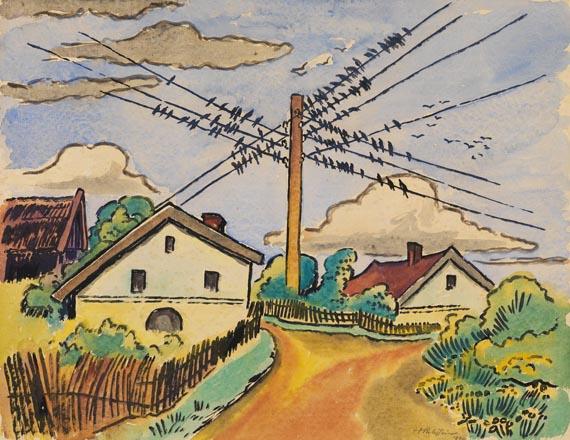 Die Schwalben sammeln sich (Ückeritz i. Pommern), 1949 - Max Pechstein