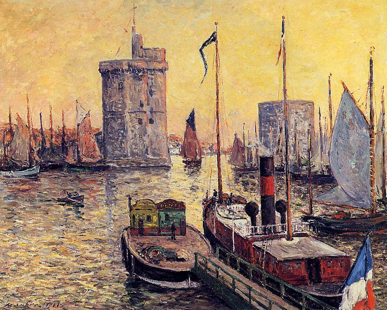 the port of la rochelle at twilight 1911 maxime maufra. Black Bedroom Furniture Sets. Home Design Ideas