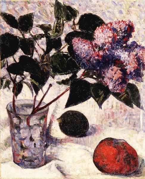 Lilacs in a Glass, Apple and Lemon, 1890 - Meijer de Haan