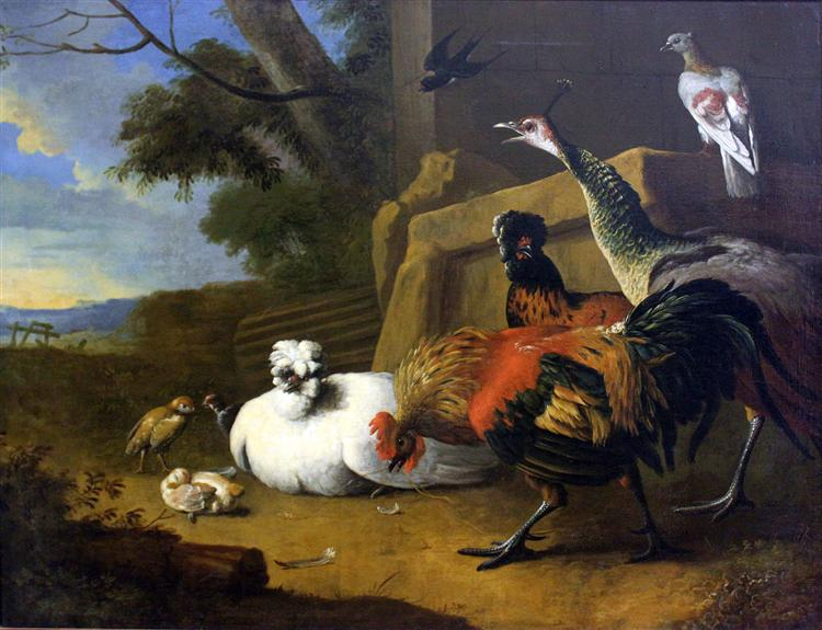 The poultry yard, 1680 - Melchior d'Hondecoeter