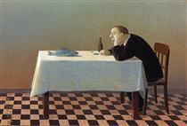 Man, Table, Fish - Michael Sowa