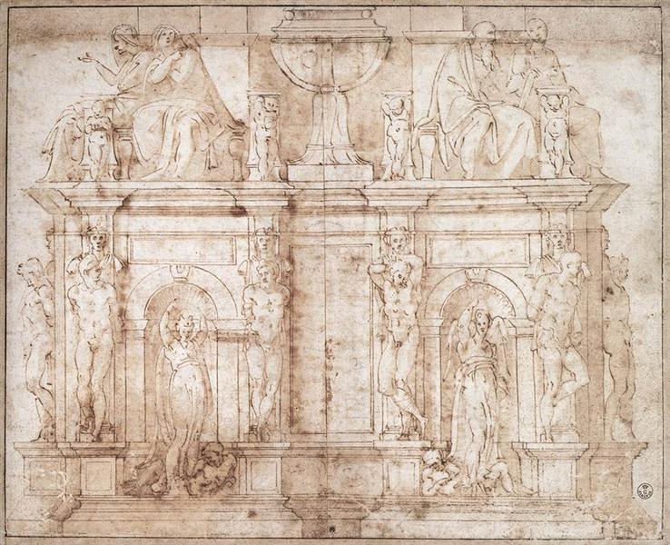 Design for Julius II tomb (second version), c.1540 - Michelangelo