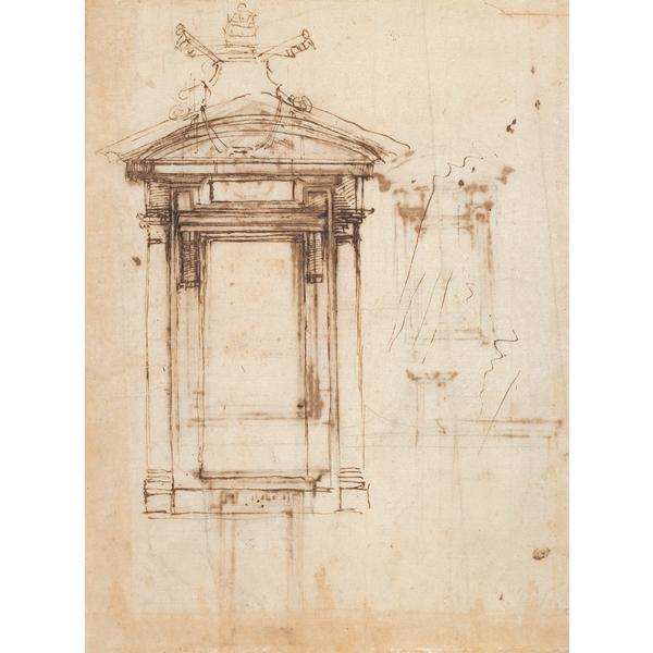 Design for Laurentian library doors and an external window, c.1526 - Michelangelo