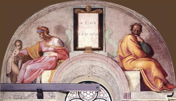 The Ancestors of Christ: Azor, Sadoch, 1512 - Michelangelo
