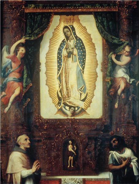 Altarpiece of the Virgin of Guadalupe with Saint John the Baptist, Fray Juan de Zumárraga and Juan Diego - Miguel Cabrera