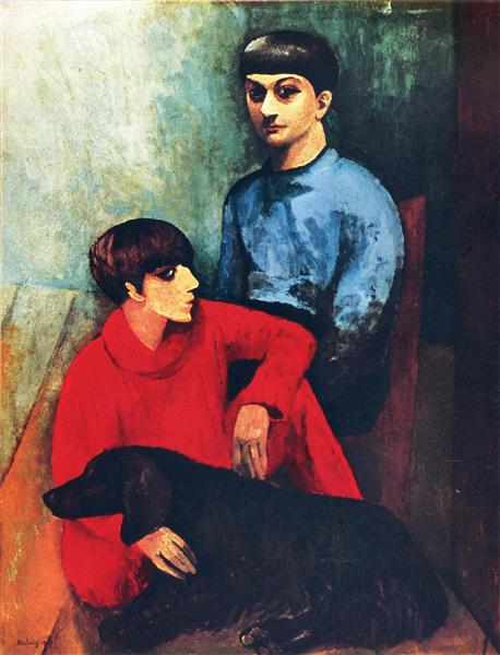 Self-portrait with his wife Renee and dog Kouski - Moise Kisling